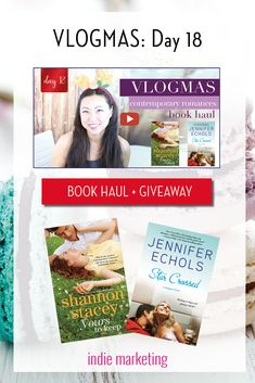 Vlogmas - Day 18#bookhaul and giveaway featuringcontemporary romance novels. Watch the video and sign up for future book giveaways! #reading #giveaway #novels #fiction #books