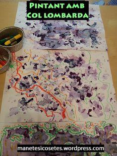 Hem descobert la col lombarda i hem pintat paper amb el seu suc. Després, ho hem combinat amb ceres de colors. El contrast és espectacular!