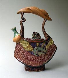 *Ceramic Teapot with a Sculptural Twist (by Helene Fielder)