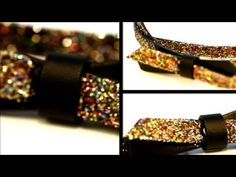 DIY Glitter Bow Belt by Miu Miu  You could also do a clutch like this  and play around iwth sizing on glitter (e.g. larger flakes,e tc)
