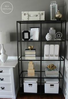 mixing metals on the bookcases (i.e. golds, silvers, blacks, whites) Dining Room Office, Home Office Space, Home Office Design, Office Workspace, Office Style, Office Chairs, White Office Decor, Black And White Office, Black White