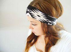 Aztec Navajo Tribal head wrap - black and cream tan - wide stretch headband with knot via Etsy