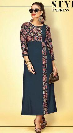 Presenting latest collections Anaira Reyon Kurti Simple Kurti Designs, Kurta Designs Women, Stylish Dress Designs, Stylish Dresses, Iranian Women Fashion, Kurta Neck Design, Sleeves Designs For Dresses, Batik Dress, African Fashion Dresses