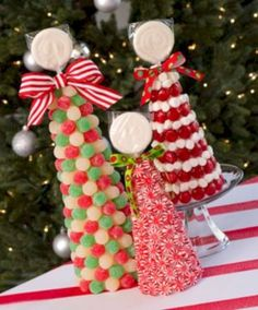 "bb posted Christmas Candy Topiaries - would make an adorable. edible centerpiece for the ""kids"" table Christmas morning! to their -christmas xmas ideas- postboard via the Juxtapost bookmarklet. Christmas Topiary, Noel Christmas, Christmas Morning, All Things Christmas, Christmas Crafts, Candy Christmas Trees, Christmas Favors, Xmas Trees, Christmas Ideas"