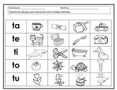 Sílabas con t - ta, te, ti, to, tu. Hojas de trabajo. Spanish Syllables worksheets.