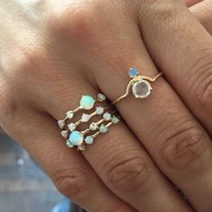 Catch them while you can! Our favorite four step Opal rings from @WWAKE are back in stock! #stackemup