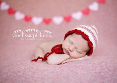 newborn photography prop-STRIPED beanie bonnet hat -0-4 weeks-baby shower gift-valentine photo prop-pink red bonnet. $18.99, via Etsy.