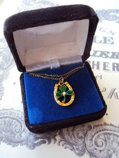 Vintage Necklace Four Leaf Clover and by primitivepincushion, $12.99