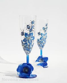 Forget me Not Hand Painted Wedding Toasting by NevenaArtGlass, $49.90