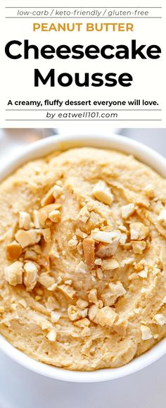 Peanut Butter Cheesecake Mousse - - This easy peanut butter cheesecake mousse recipe is a creamy, fluffy, no-bake treat that is low in carbs, keto-friendly and gluten-free. Cheesecake Mousse Recipe, Mousse Dessert, Keto Cheesecake, Peanut Butter Mousse, Gluten Free Peanut Butter, Peanut Butter Cheesecake, Easy Peanut Butter Recipes, Low Carb Sweets, Low Carb Desserts