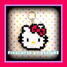 Hello Kitty Perler Bead Keychain Magnet or by KeepsakesByNicolina