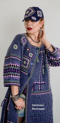 Irish lace, crochet, crochet patterns, clothing and decorations for the house, crocheted. Crochet Coat, Crochet Jacket, Crochet Cardigan, Crochet Clothes, Diy Clothes, Knit Fashion, Sweater Fashion, Boho Fashion, Freeform Crochet