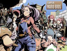 """スーパーマリオ Translated """"Super Mario"""" (Artist Credit & Date: unknown) #fanart #smb #mario #mariobros #gamerchick"""
