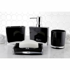 Modern Black 4 Piece Bath Accessory Set By Kingston Brass