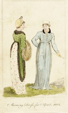 Morning dress, fashion plate, hand-colored etching on paper, published London, April 1801.