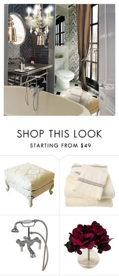 """""""Brooklyn Brownstone: Bathroom"""" by annmaira ❤ liked on Polyvore featuring interior, interiors, interior design, home, home decor, interior decorating, Roxbury Park, The French Bee, bathroom and brooklyn"""