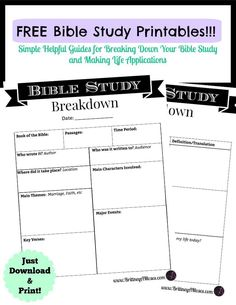 Hey Family! So, here's the deal. I've decided to put together a Printable Bible Study Guide for anyone who might find it helpful in breaking down their Bible reading and learning to mak…