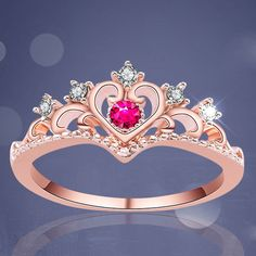 Fashion Womens Princess Queen Crown Ring Rose Gold Crystal Retro Heart Ring Gift #ebay #Fashion Ear Jewelry, Cute Jewelry, Jewelry Watches, Sith, Tiara Ring, Black Tungsten Rings, Ringe Gold, Star Wars, Love Ring