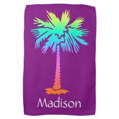 neon palm tree tropical summer purple customizable kitchen towel - yoga health design namaste mind body spirit