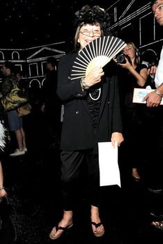 Sitting front-row at Chanel, Hilary Alexander channeled Madame Butterfly. Hand Held Fan, Hand Fans, Madame Butterfly, Celebs, Celebrities, Summer Trends, Front Row, Chanel, Image