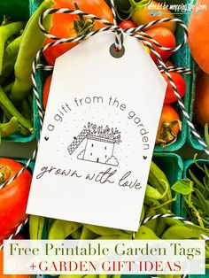Garden Gift Ideas and Free Printable Tags   Gifts from your garden to neighbors and friends can be packaged with these free printable tags. Free Printable Tags, Printable Recipe Cards, Free Printables, Printable Quotes, Berry Baskets, Love Is Free, Pretty Cards, Garden Gifts, Projects To Try