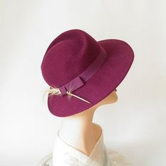 Vintage fedora hat plum tilt with feather by TheVintageHatShop