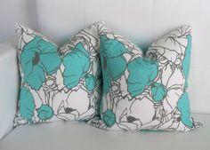 CLOSING SALE - Mint Blue Floral Pillow Covers - 14x14 Pair