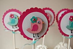 Baby Bird Birthday Party Cupcake Toppers set of by WeBringTheParty