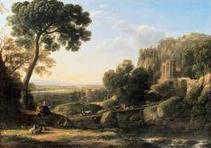 claude lorrain -  Le panorama du bourg de Tivoli sur la campagne romaine et les monuments anciens et modernes qui l'ornaient, dont le temple de la Sibylle et la Villa d'Este, ont rendu l'endroit célèbre