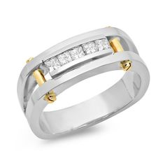 Mens Two Tone Princess Cut Diamond Ring by JewelersEnterprise
