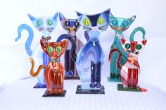 Fused Glass Whimsical Cat Family By Saskia