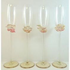 Blown glass champagne flutes   Ion Tamaian Pink Champagne Flutes Set of 4 Hand Blown Art Glass