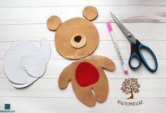 Felt Doll Patterns, Stuffed Toys Patterns, Handmade Toys, Handmade Crafts, Diy Leather Wallet Pattern, Bear Felt, Felt Decorations, Felt Dolls, Felt Art