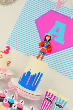 Girly Modern Superhero Birthday Party Ideas - love the bright colors and fab party design!