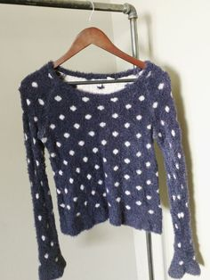 Womens Anthropologie Blue Crop Sweater Polka Dots by MOTH RN 66170 Size Medium #Anthropologie #Preppy