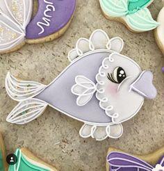 ❥ Mermaid Party | Cookie Fish Cookies, Fancy Cookies, Xmas Cookies, Cut Out Cookies, Cute Cookies, Cupcake Cookies, Sugar Cookie Icing, Royal Icing Cookies, Kure Beach