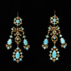 1830 Gold, turquoise and diamond earrings.
