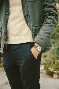 Everything is great about this....pants, sweater, jacket, watch, everything.