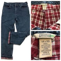Duluth Trading Co Flannel Lined Jeans 14 W35 L32 Stretch Straight Leg Women #DuluthTradingCo #Straight Flannel Lined Jeans, Plaid Flannel, Flannel Outfits, Flannel Clothing, Denim Jeans, Mom Jeans, Dude Perfect, Duluth Trading, Tommy Hilfiger Jeans