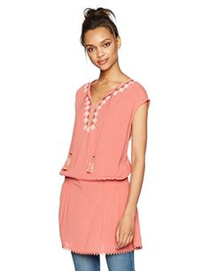 224532d82b16fb online shopping for Ella Moon Women s Lily Cap Sleeve Tassel Tie  Embroidered Neck Smocked Tunic from top store. See new offer for Ella Moon  Women s Lily Cap ...