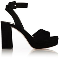 Miu Miu Women's Suede Ankle-Strap Platform Sandals (1.445.575 COP) ❤ liked on Polyvore featuring shoes, sandals, heels, black, black sandals, ankle strap heel sandals, open toe heel sandals, high heeled footwear and platform heel sandals