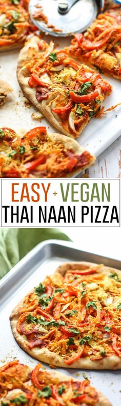 A mix of red curry and tomato paste creates the sauce for this Easy Vegan Thai Naan Pizza. Throw on some veggies and this pizza is ready in less than 20 minutes!