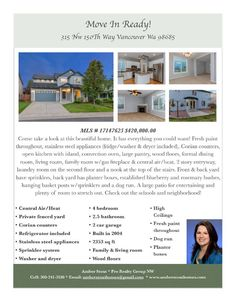 Real Estate for sale at $420,000! come and view this beautiful four bedroom, two full and one half bath, 2353 square foot two story move in ready updated home on a .12 acre level lot located at 315 NW 150th Way, Vancouver, Washington 98685 in Clark County area 43 which is the North Felida area in Vancouver. The RMLS number is 17147625. It has one gas fireplace and is not considered to be a view home. It was built in 2004 and has an attached two car garage. The local high school is Skyview…