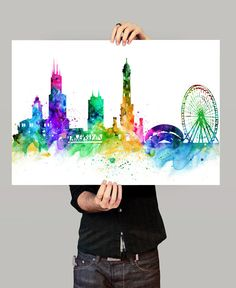 Chicago Skyline, Chicago Cityscape, Chicago Print, Watercolor Art, Watercolor Pa… - All For Herbs And Plants Chicago Skyline Tattoo, Skyline Von Chicago, Chicago City, Chicago Skyline Drawing, Skyline Painting, Cityscape Art, Skyline Art, Watercolor City, Watercolor Canvas