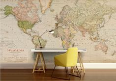 World map wall decal, wallpaper world map, old map wall decal, antique world map, vintage wall mural, vintage map, mapamandi, old map by 4KdesignWall on Etsy https://www.etsy.com/listing/545202883/world-map-wall-decal-wallpaper-world-map
