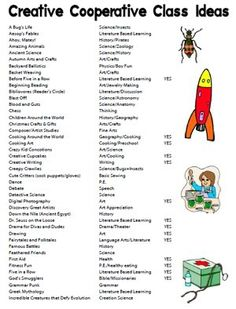Creative cooperative class ideas - this list is great! May be a good place to start when it's time to brainstorm!