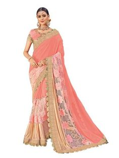 Pink Color Georgette Net and Lycra Saree - RA21216      #sarees #sari #fashion #looking #popular #offers #zinnga #zinngafashion #look #new #fashionable #style #womens #fashionable