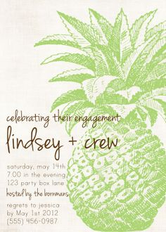 pineapple party invites, green pineapple wedding invites, pineapple engagement party invitations from Party Box Design. Beach Baby Showers, Tropical Bridal Showers, Tropical Party, Nautical Wedding Invitations, Engagement Party Invitations, Bridal Shower Invitations, Invites, Luau Theme Party, Tiki Party