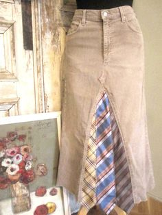 like this idea...jeans and ties made into a skirt
