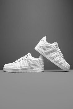 """Designing the Nike Air Force 1 after the Air More Uptempo is just another day in the office for Cactus Plant Flea Market. The streetwear label has popularized this exact """"do-it-yourself"""" style look with its sporadic clothing releases over the years. Air Force Ones, Air Force 1, Nike Air Force, Scottie Pippen, Streetwear Brands, Classic White, Cactus Plants, White Leather, Label"""